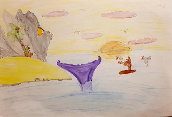Dessin de la baleine par Agathe