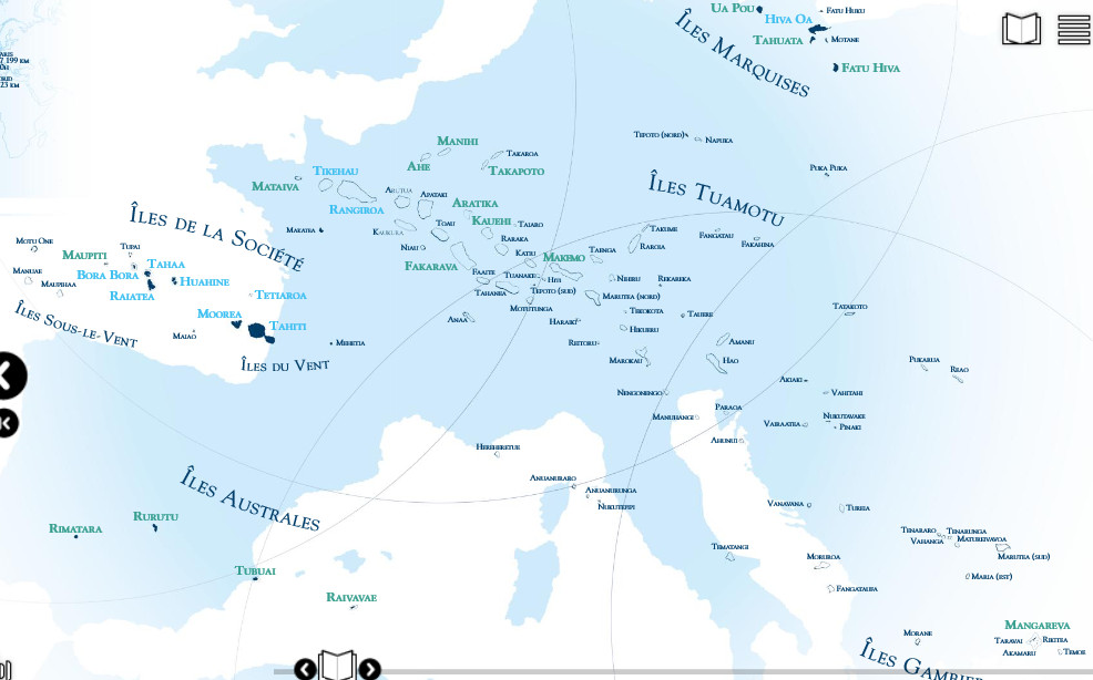 carte de la Polynésie sur fond de carte de l'europe